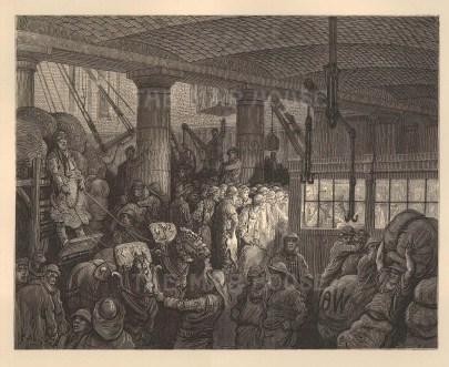 St. Katherine's Docks. Interior scene in one of the warehouses handling Indigo. From the famous French artist's four year pilgrimage through London.