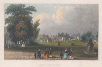 "Tallis: Kensal Green Cemetery. 1851. A hand coloured original antique steel engraving. 6"" x 4"". [LDNp9131]"