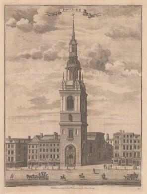 "Stow: Bow Church. 1754. An original antique copper engraving. 13"" x 18"". [LDNp9155]"