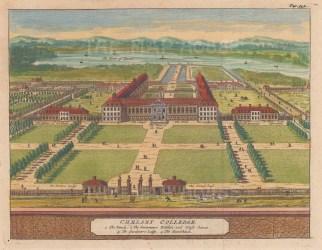 "van der Aa: Chelsea Hospital. 1727. A hand coloured original antique copper engraving. 6"" x 4"". [LDNp9183]"