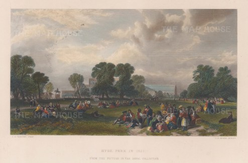 Hyde Park in 1851 with Crystal Palace in the background.