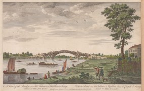 "Wilkinson: Walton Bridge. 1805. A hand coloured original antique copper engraving. 16"" x 10"". [LDNp9238]"