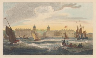 "Cooke: Greenwich Hospital. 1811. A hand coloured original antique copper engraving. 8"" x 5"". [LDNp9438]"