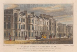 "Shepherd: Ulster Terrace, Regent's Park. 1827. A hand coloured original antique steel engraving. 7"" x 5"". [LDNp9607]"