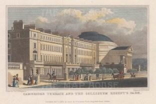"""Shepherd: Cambridge Terrace & the Coliseum, Regent's Park. 1827. A hand coloured original antique steel engraving. 7"""" x 5"""". [LDNp9614]"""
