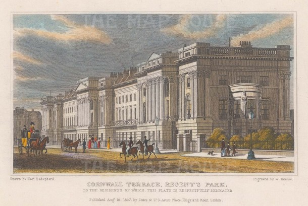 "Shepherd: Cornwall Terrace, Regent's Park. 1827. A hand coloured original antique steel engraving. 7"" x 5"". [LDNp9625]"