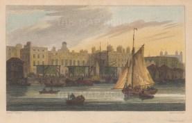 """Owen: Custom House. 1810. A hand coloured original antique copper engraving. 8"""" x 5"""". [LDNp9634]"""