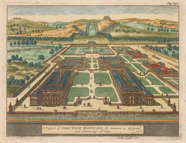 "van der Aa: Greenwich Hospital. c1727. A hand coloured original antique copper engraving. 7"" x 5"". [LDNp9643]"