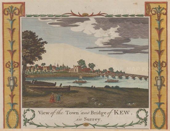 """Hogg: Kew. c1775. A hand coloured original antique copper engraving. 9"""" x 7"""". [LDNp9692]"""