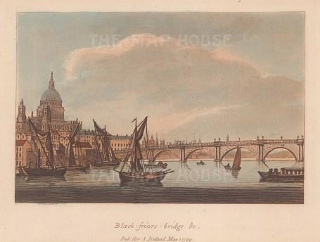 "Ireland: Blackfriars Bridge. 1799. An original colour antique aquatint. 7"" x 5"". [LDNp9807]"