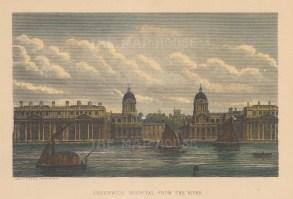 "Cassell: Greenwich Hospital. c1880. A hand coloured original antique steel engraving. 8"" x 5"". [LDNp9865]"