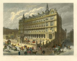 """Cassell: Cannon Street Railway Station. c1883. A hand coloured original antique steel engraving. 8"""" x 5"""". [LDNp9875]"""