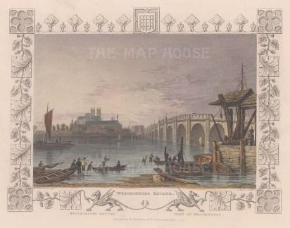"Tombleson: Westminster Bridge. 1845. A hand coloured original antique steel engraving. 8"" x 7"". [LDNp9894]"