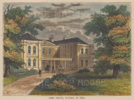 """Old &b New: Lime Grove, Putney. c1880. A hand coloured original antique wood engraving. 6"""" x 4"""". [LDNp9909]"""