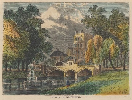 Kensington Gardens. View of the Westbourne River outfall and the fountains.