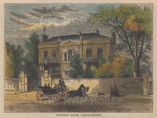 "Old & New: Kingston House, Knightsbridge. c1880. A hand coloured original antique wood engraving. 6"" x 4"". [LDNp9911]"