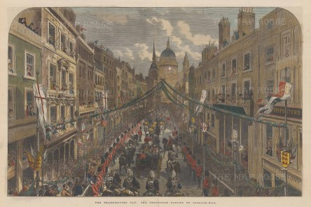 Ludgate Hill. Parade of the Royal Family, Queen's Guards and Household Cavalry towards St. Pauls Cathedral.