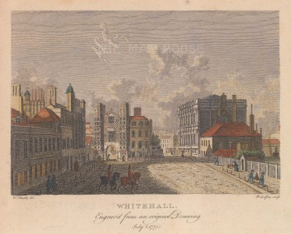 Whitehall towards the Holbein gate of Whitehall Palace.