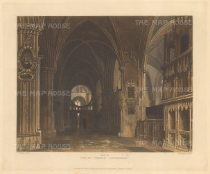 "Ackermann: Christ Church Cathedral. 1814. An original colour antique aquatint. 12"" x 11"".[OXONp376]"