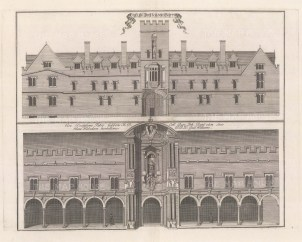 Two elevations of the college. An architectural draughtsman, in many instances William's elevations are the only visual records of the colleges at this time.