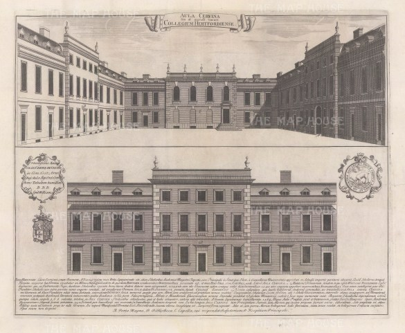 Two elevations of the facade and quadrangle with a brief history of the college's foundations. An architectural draughtsman, in many instances William's elevations are the only visual records of the colleges at this time.