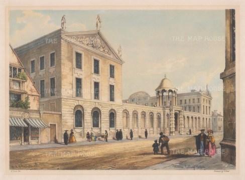 "Delamotte: Queen's College. 1840. A hand coloured original antique lithograph. 15"" x 11"". [OXONp533]"