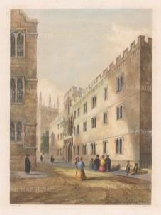 "Delamotte: Corpus Christi College. 1840. A hand coloured original antique lithograph. 11"" x 15"". [OXONp536]"