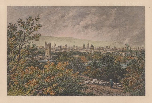 Panoramic view of Oxford from the environs.