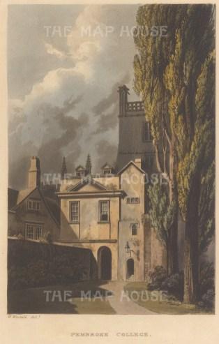 """Ackermann: Pembroke College. 1814. An original colour antique aquatint. 5"""" x 8"""".[OXONp784]"""