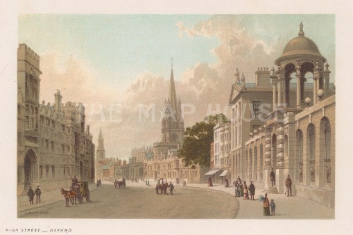 High Street. Looking west with University College on the left and St Mary the Virgin and All Saints Church on the right.