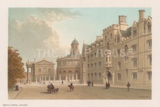 Broad Street. Looking East towards the Clarendon building and Sheldonian Theatre with Exeter College on the right.