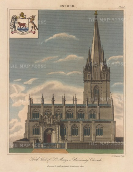 View of the front elevation with arms. Engraved by John Chapman.