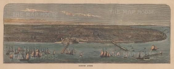 "Graphic Magazine: Buenos Ayres. 1871. A hand coloured original antique wood engraving. 12"" x 4"". [SAMp1487]"