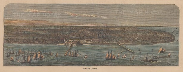 "Graphic Magazine: Buenos Ayres. 1871. A hand coloured original antique wood engraving. 12"" x 4"". [SAMp1487]"