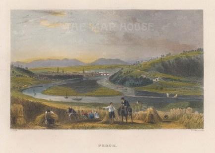 "Allom: Perth. 1836. A hand coloured original antique steel engraving. 9"" x 7"". [SCOTp1616]"