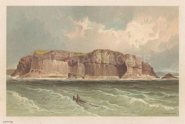 "Nelson: Staffa Island, Inner Hebrides. 1890. An original antique chromolithograph. 5"" x 3"". [SCOTp1662]"
