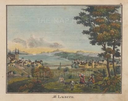 "Anonymous: Lucerne, Switzerland. c1800. A hand coloured original antique copper engraving. 8"" x 6"". [SWIp745]"