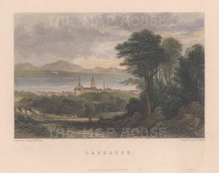 "Fullarton: Lausanne, Switzerland. c1856. A hand coloured original antique steel engraving. 5"" x 4"". [SWIp782]"