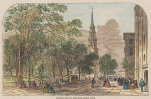 Boston: View of Tremont Street and Park Street church.