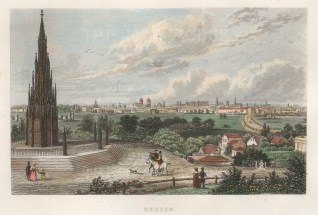 "Kelly: Berlin. 1840. A hand coloured original antique steel engraving. 9"" x 6"". [GERp1227]"