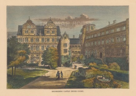 "Reclus: Heidelberg Castle. 1894. A hand coloured original antique wood engraving. 8"" x 5"". [GERp1229]"