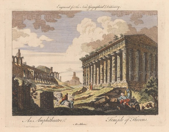 "Coote: Temple of Theseus, Athens. c1760. A hand coloured original antique copper engraving. 11"" x 8"". [GRCp701]"