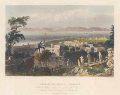 "Bartlett: Rhodes. 1838. A hand coloured original antique steel engraving. 8"" x 7"". [GRCp849]"