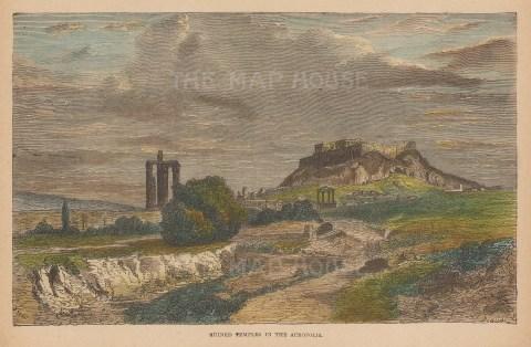 "Brown: Acropolis, Athens. c1870. A hand coloured original antique wood engraving. 9"" x 6"". [GRCp860]"