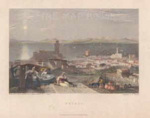 "Fullarton: Rhodes. 1856. A hand coloured original antique steel engraving. 5"" x 4"". [GRCp897]"