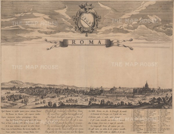 Rare. Panorama of Rome from the Basilica di Santa Maria Maggiore to St Peter's Cathedral. With a key to principal buildings and a poem in Latin, Dutch and French to the 'ornament of Europe'.