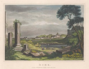 """Kelly: Rome. c1840. A hand coloured original antique steel engraving. 8"""" x 7"""". [ITp2065]"""