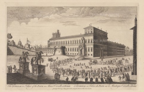 Quirinal Hill. Palazzo del Quirinal seen from the Piazza with the statues of Castor and Pollux. The obelisk now erected between them had yet to be found at the Tomb of Augustus. After Giovanni Falda.