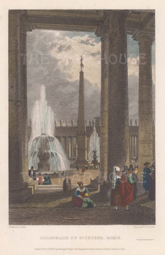 """Prout: Colonnade of St. Peter's. c1830. A hand coloured original antique steel engraving. 4"""" x 6"""". [ITp2173]"""