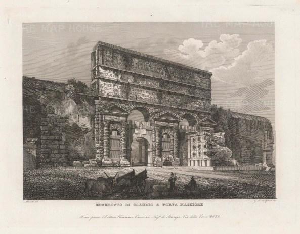 Cottafavi: Porta Maggiore. c1843. An original antique etching. 11″ x 8″. [ITp2206]